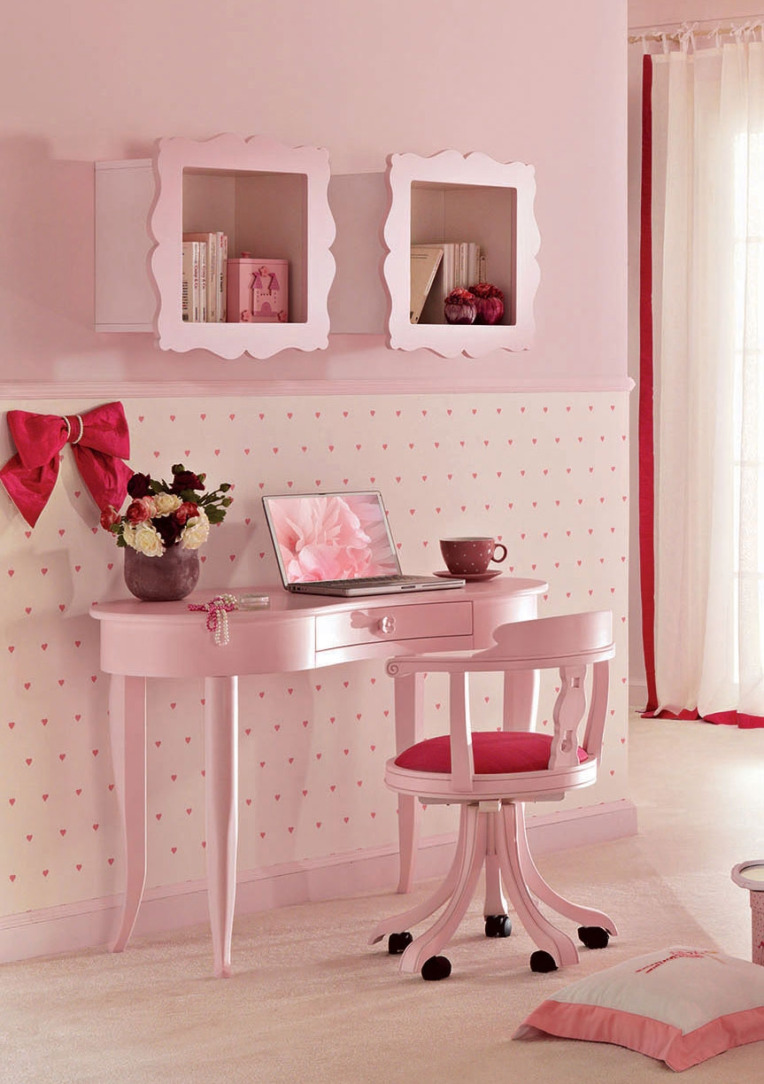 bureau 1 tiroir arrondi laqu mate rose pastel piermaria so nuit. Black Bedroom Furniture Sets. Home Design Ideas