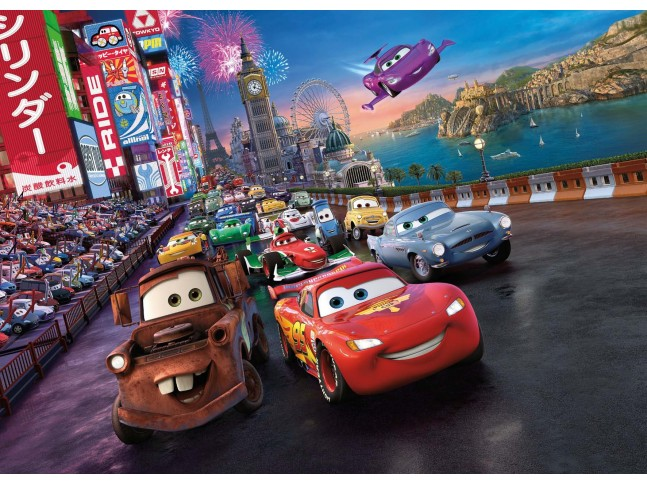 Poster mural CARS la course - Panoramique Disney - KOMAR