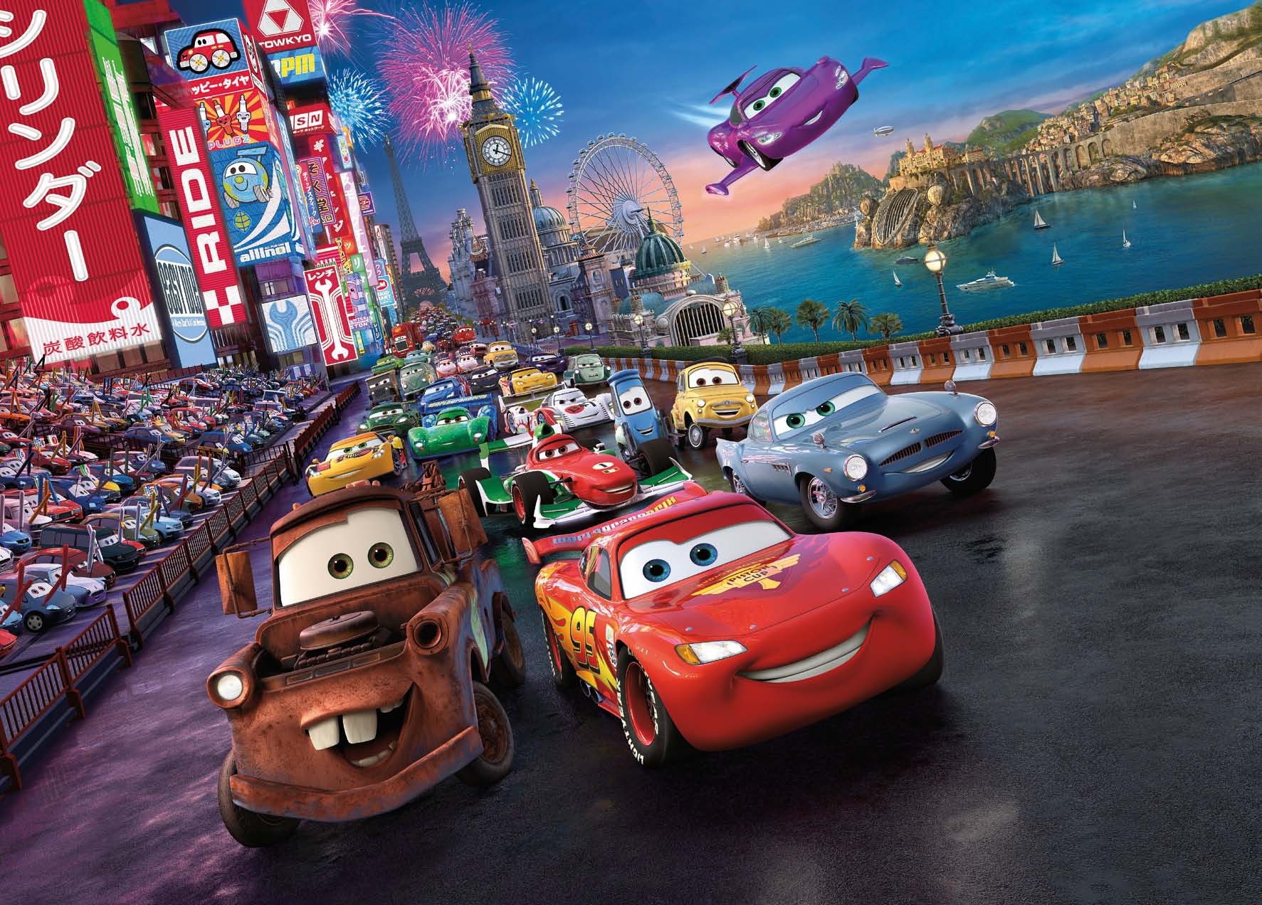 Poster mural CARS la course - Panoramique Disney - KOMAR