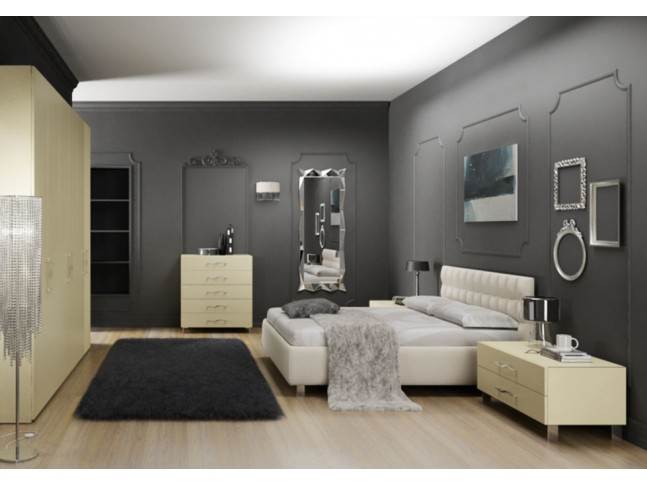 Chambre adulte PERSONNALISABLE AM18 lit double, chevets, commode & armoire - MORETTI COMPACT