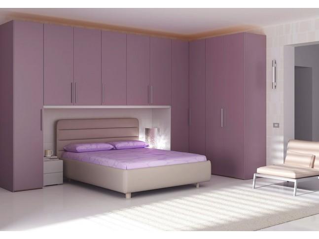 Chambre adulte PERSONNALISABLE AM19 lit double, chevets, rangement pont & armoires - MORETTI COMPACT