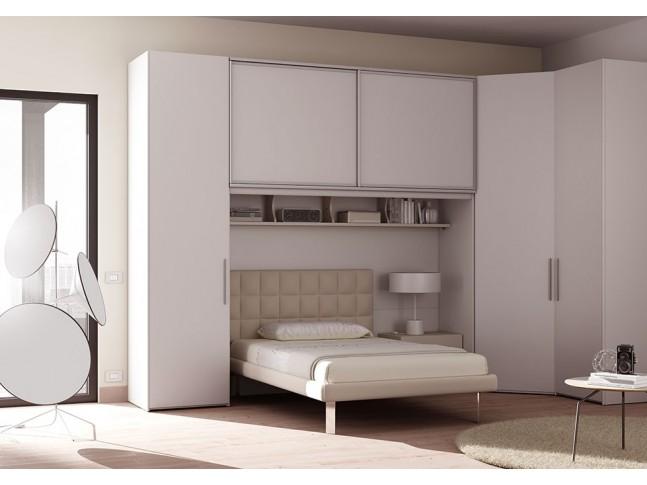Chambre ado lit 1 personne PERSONNALISABLE AM21 lit, chevet, rangement pont & armoires - MORETTI COMPACT