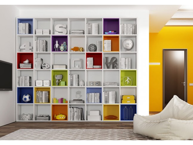 Bibliothèque Design PERSONNALISABLE AL12 Multicolore moderne et fun - MORETTI COMPACT
