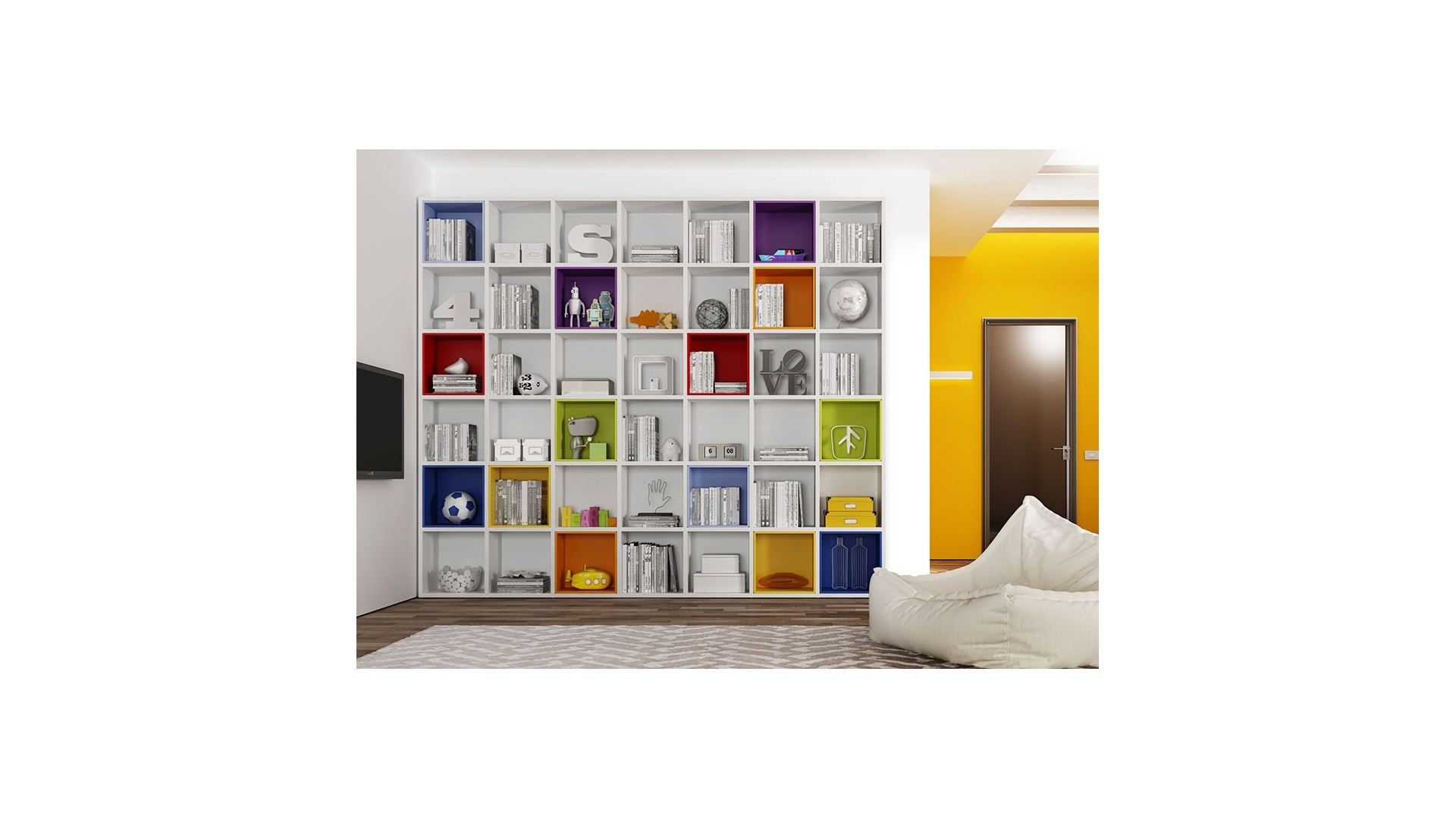 biblioth que design wall box multicolore moretti compact so nuit. Black Bedroom Furniture Sets. Home Design Ideas