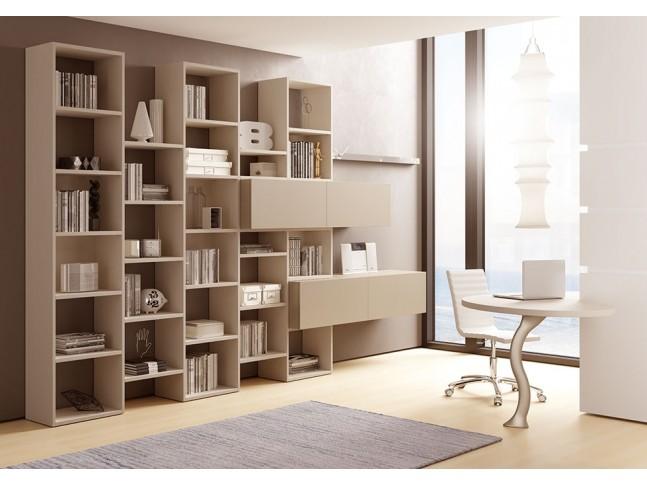 Bibliothèque design PERSONNALISABLE AL13 avec niches ouvertes & portes à ouverture pour push pull - MORETTI COMPACT