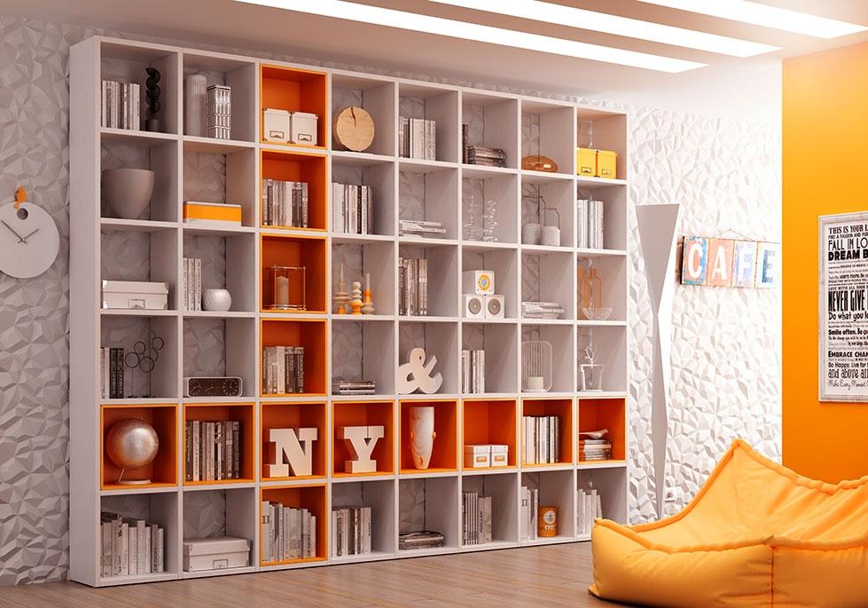 Bibliothèque Design PERSONNALISABLE AL14 avec niches Wall Box couleur Mandarine - MORETTI COMPACT