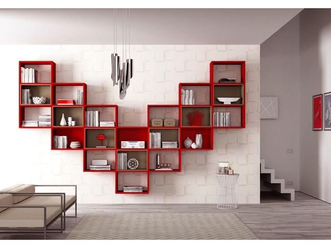Bibliothèque design PERSONNALISABLE AL15 couleur cerise & tourterelle - MORETTI COMPACT