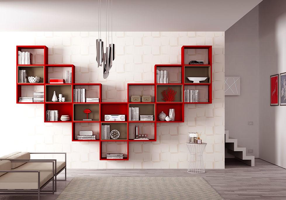 biblioth que design en forme tr s a rienne moretti. Black Bedroom Furniture Sets. Home Design Ideas