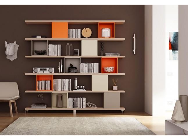 Bibliothèque design PERSONNALISABLE AL17 sur pieds - MORETTI COMPACT