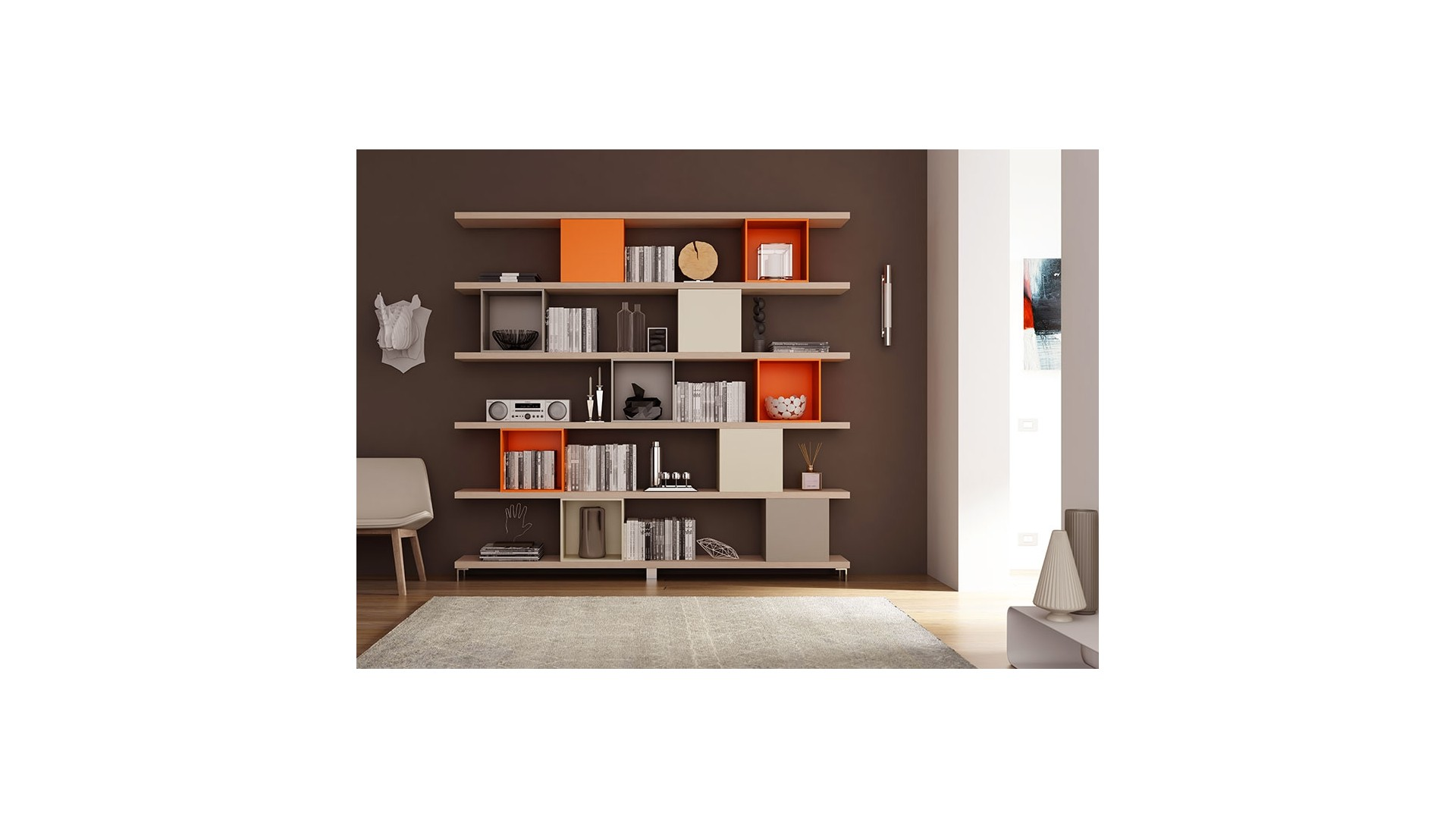 biblioth que design suspendue unique moretti compact. Black Bedroom Furniture Sets. Home Design Ideas
