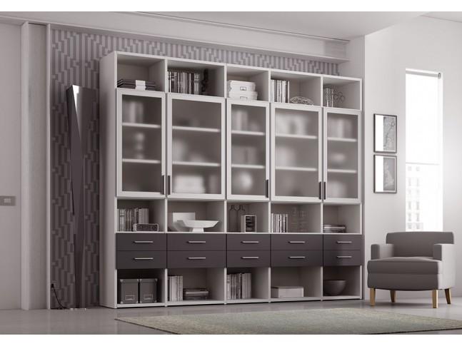 Bibliothèque Design PERSONNALISABLE AL19 avec portes vitrées & tiroirs - MORETTI COMPACT