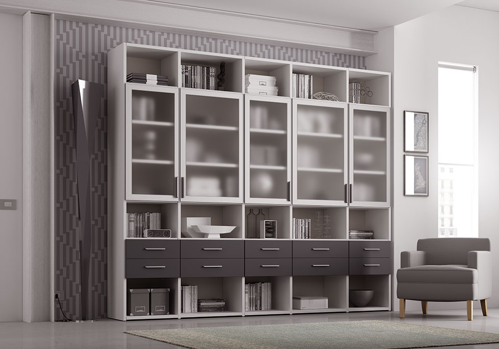 biblioth que design avec portes vitr es moretti compact so nuit. Black Bedroom Furniture Sets. Home Design Ideas