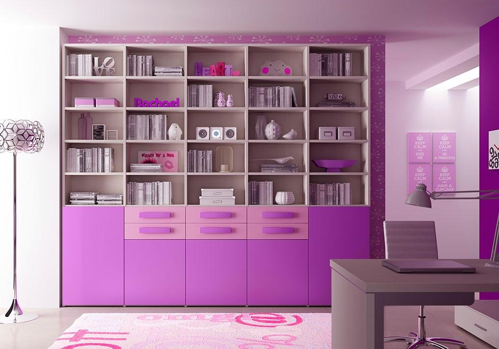 Bibliothèque Design PERSONNALISABLE AL21 avec niches ouvertes, portes Lila & tiroirs Poudré - MORETTI COMPACT
