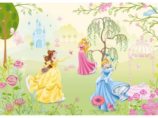 Poster mural Princesses Disney au jardin - Panoramique Disney - KOMAR