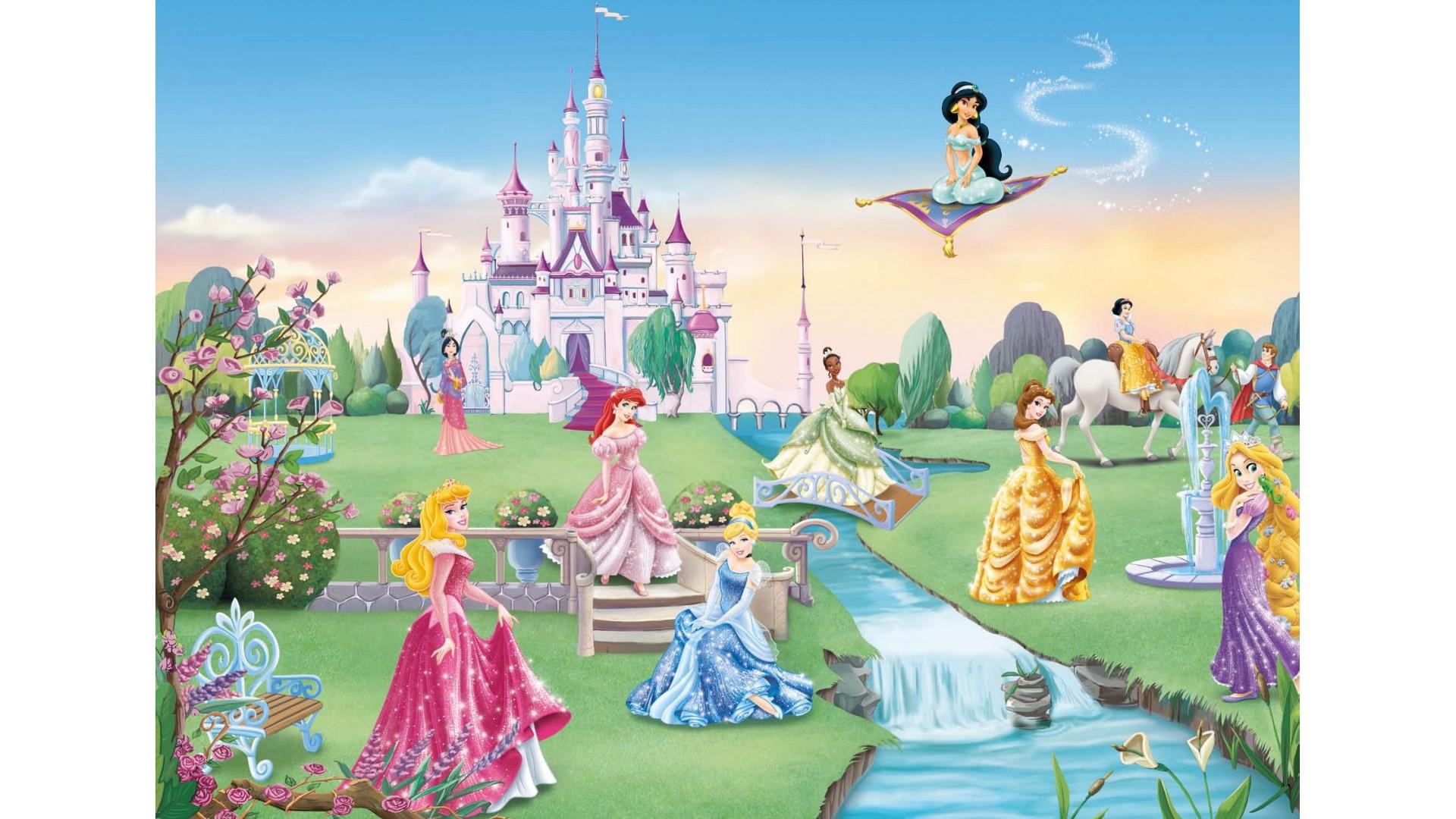 Poster XXL Princesses Disney et le château - Panoramique Disney - KOMAR