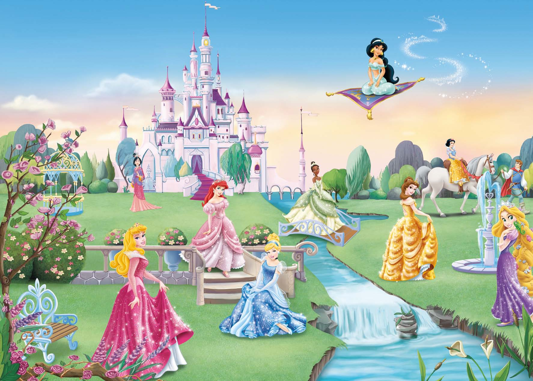 poster xxl princesses disney le ch teau panoramique komar so nuit. Black Bedroom Furniture Sets. Home Design Ideas