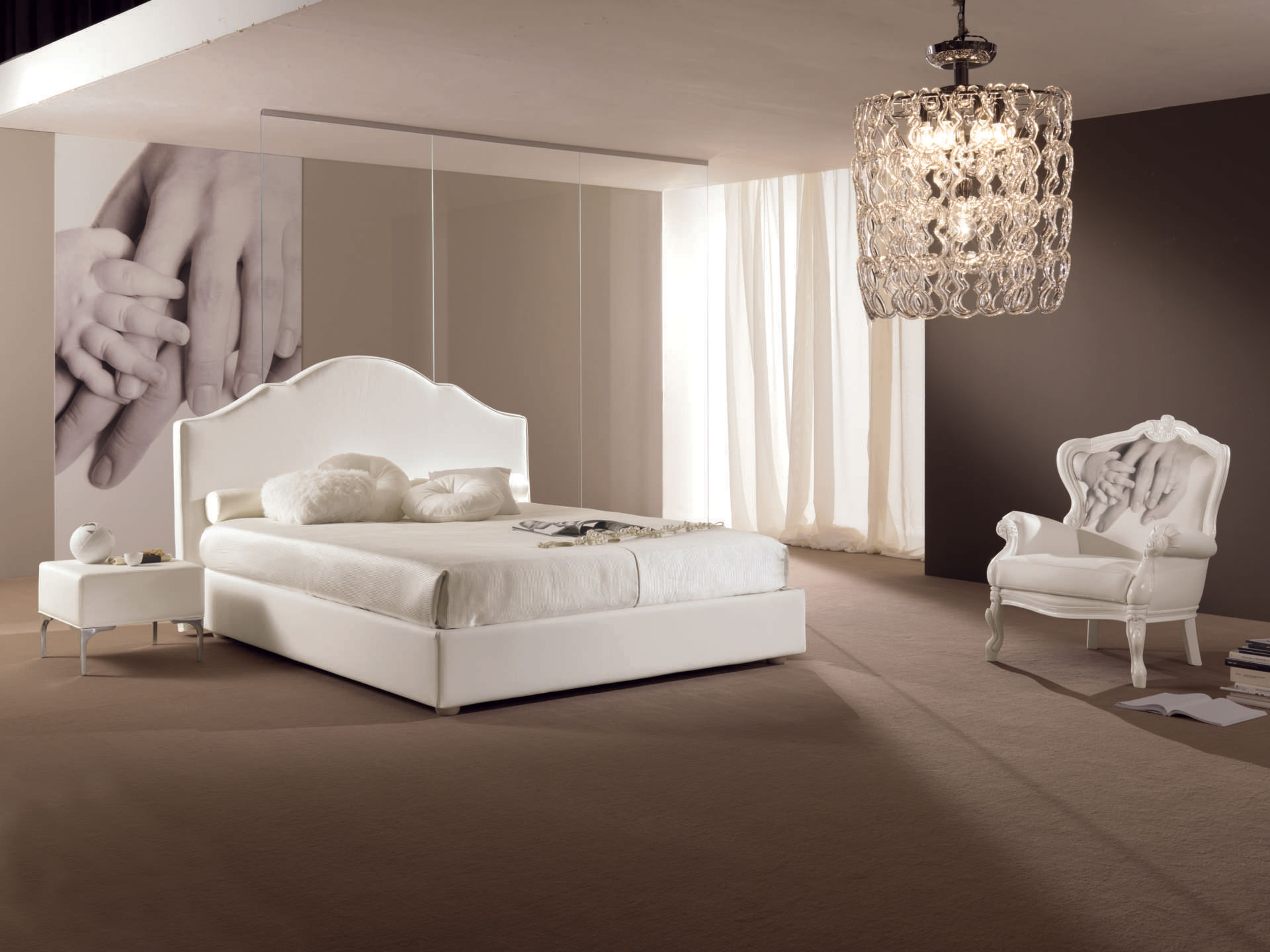 Chambre coucher avec lit 2 places design pure for Decoration chambre a coucher en photo