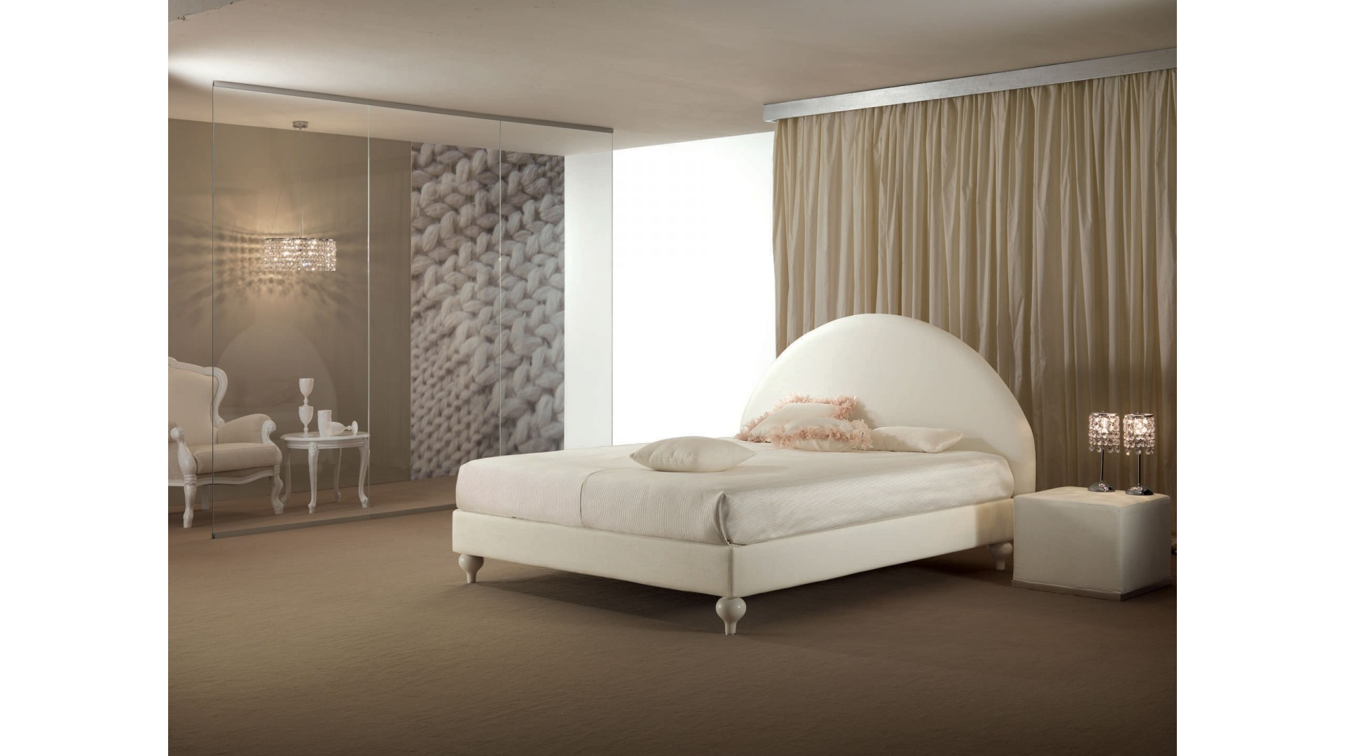 lit double nuvola l avec t te de lit arrondie piermaria so nuit. Black Bedroom Furniture Sets. Home Design Ideas