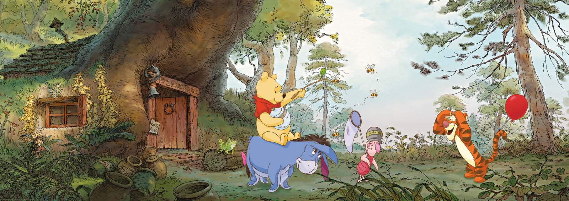 Poster mural la maison de Winnie l'ourson - Panoramique Disney - KOMAR