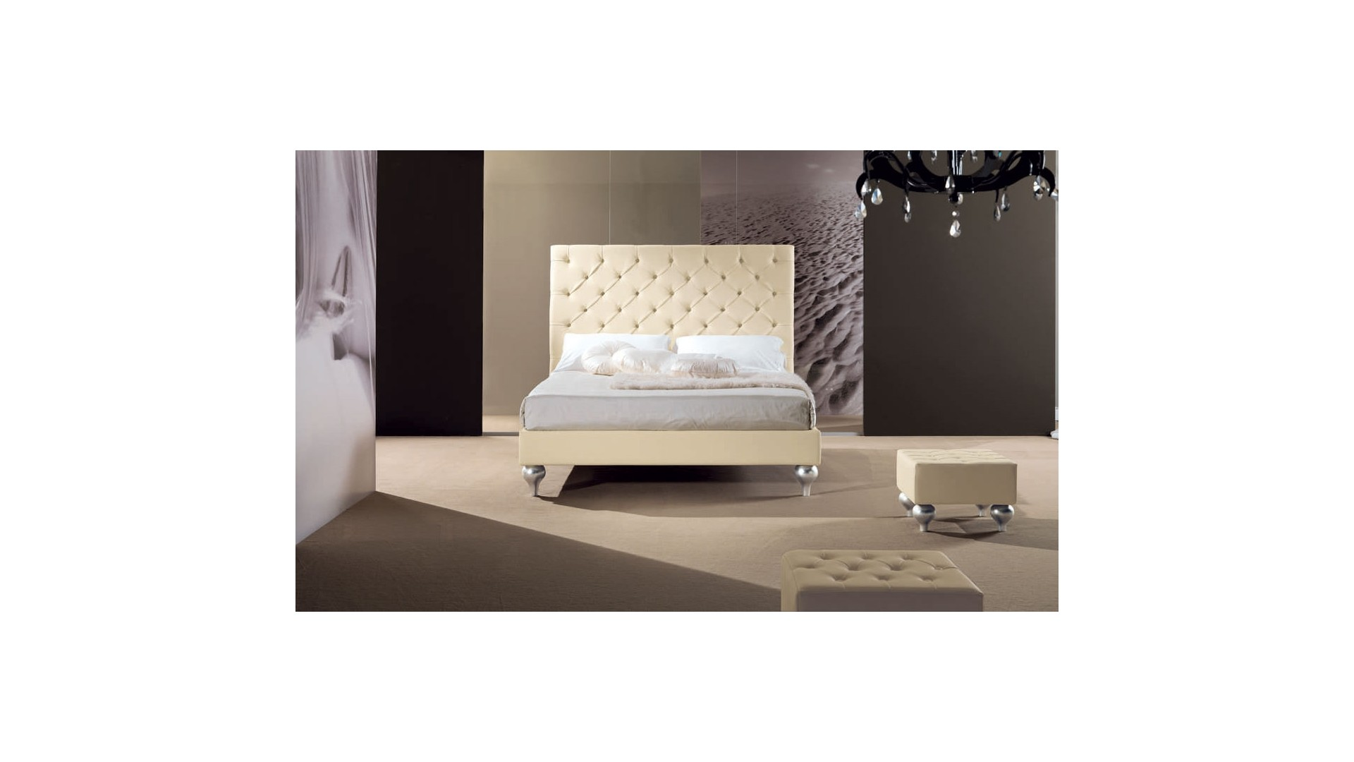 lit double avec t te de lit haute toute capitonn e piermaria so nuit. Black Bedroom Furniture Sets. Home Design Ideas