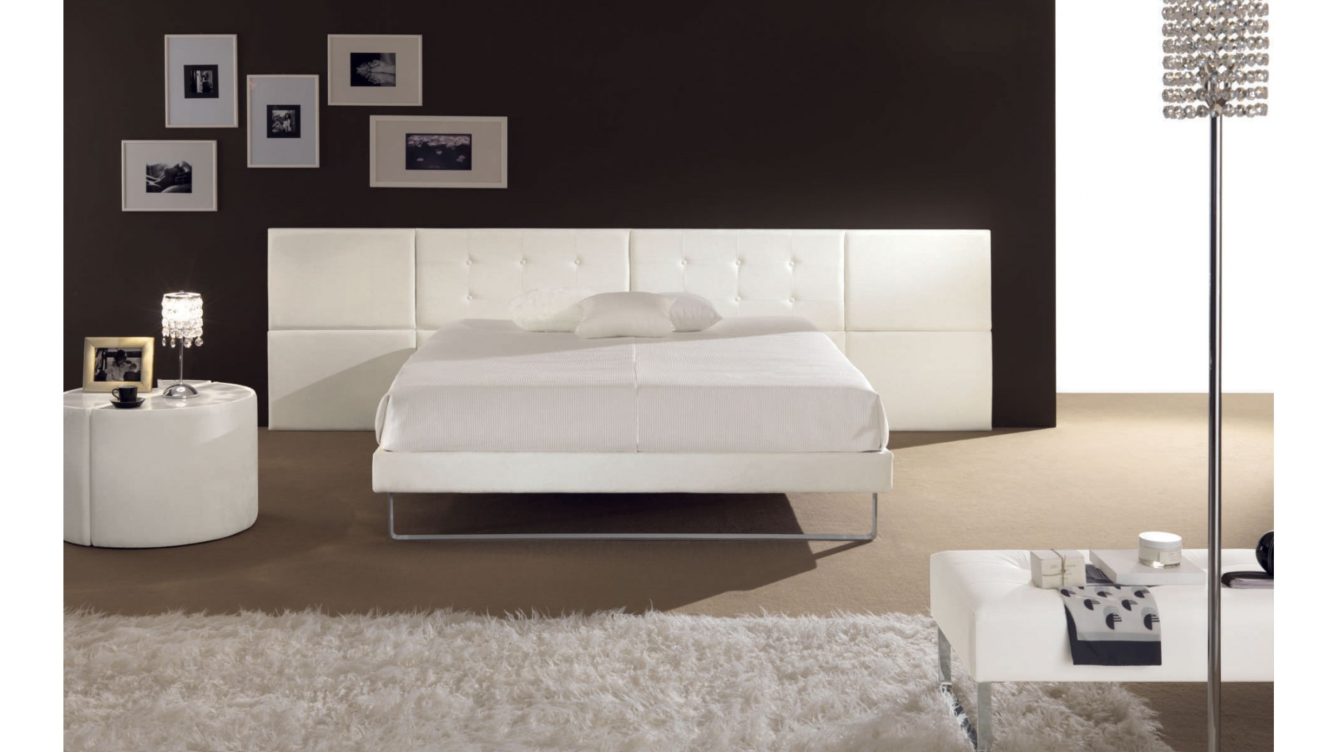 lit 2 places arkom avec t te de lit majestueuse piermaria so nuit. Black Bedroom Furniture Sets. Home Design Ideas
