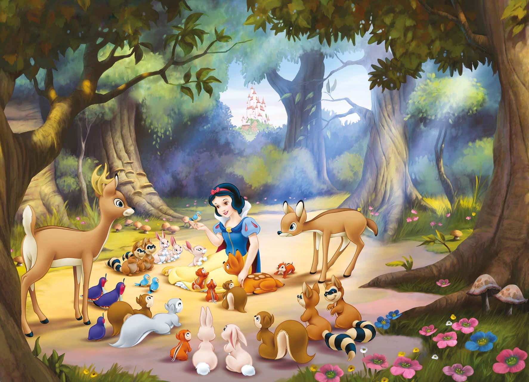 Poster mural Blanche Neige et ses amis - Panoramique Disney - KOMAR
