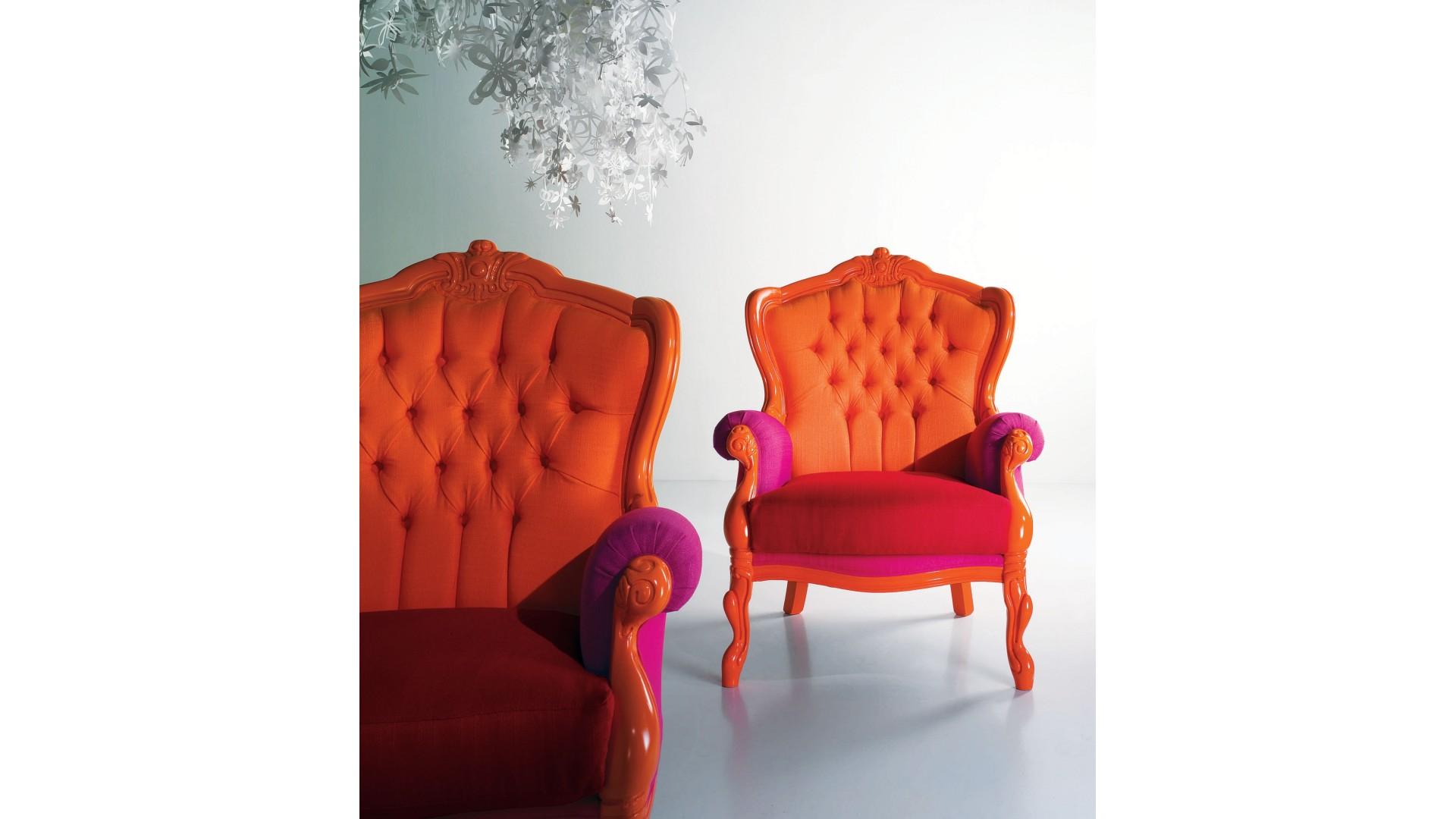 Fauteuil design Elliot laqué brillant mandarine PIERMARIA SO NUIT