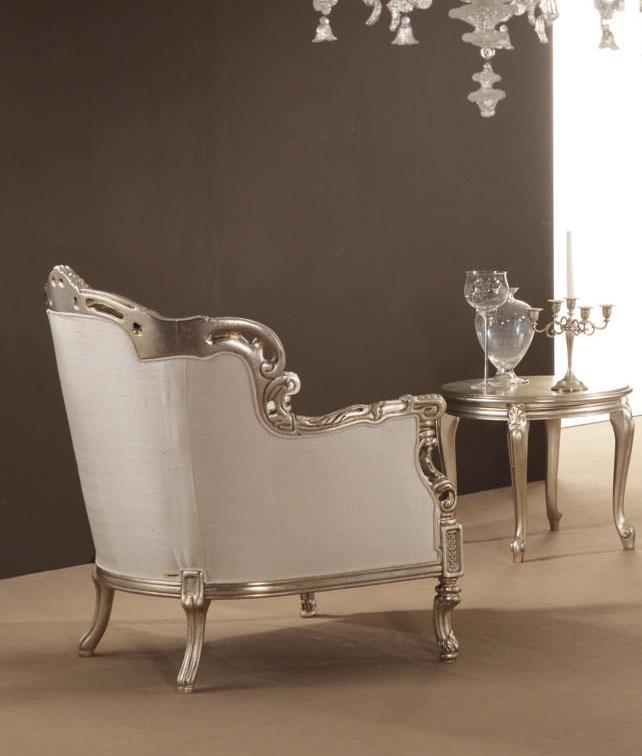 Fauteuil baroque glem laqu argent tissu blanc for Divan fauteuil