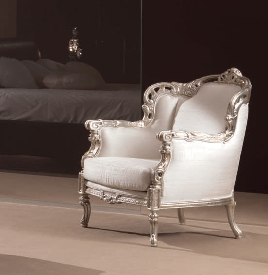 fauteuil baroque glem laqu argent tissu blanc piermaria so nuit. Black Bedroom Furniture Sets. Home Design Ideas