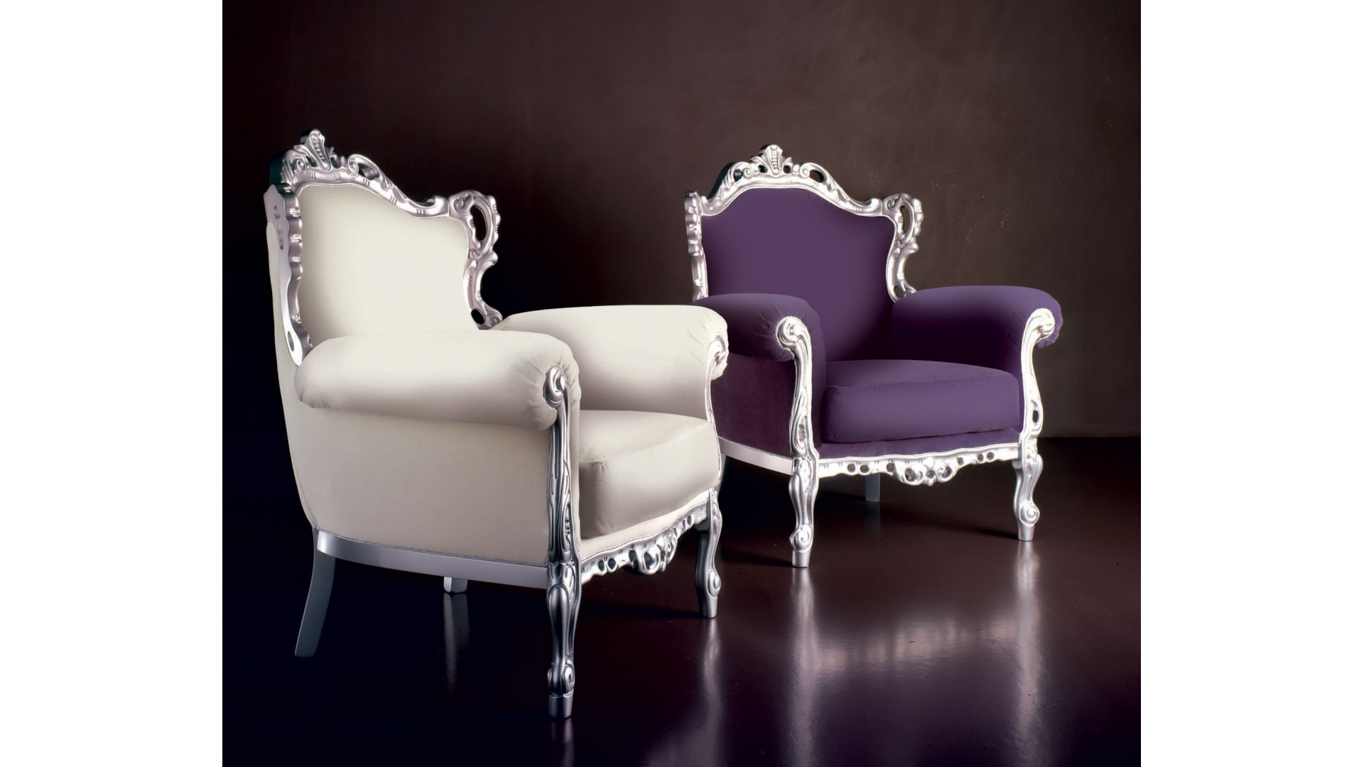 fauteuil baroque marcel laqu argent tissu piermaria so nuit. Black Bedroom Furniture Sets. Home Design Ideas