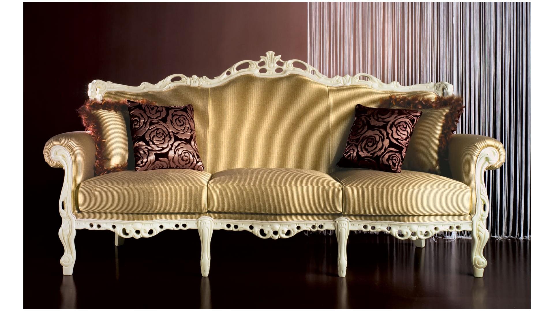 Divan marcel laqu ivoire antique tissu beige for Divan fauteuil