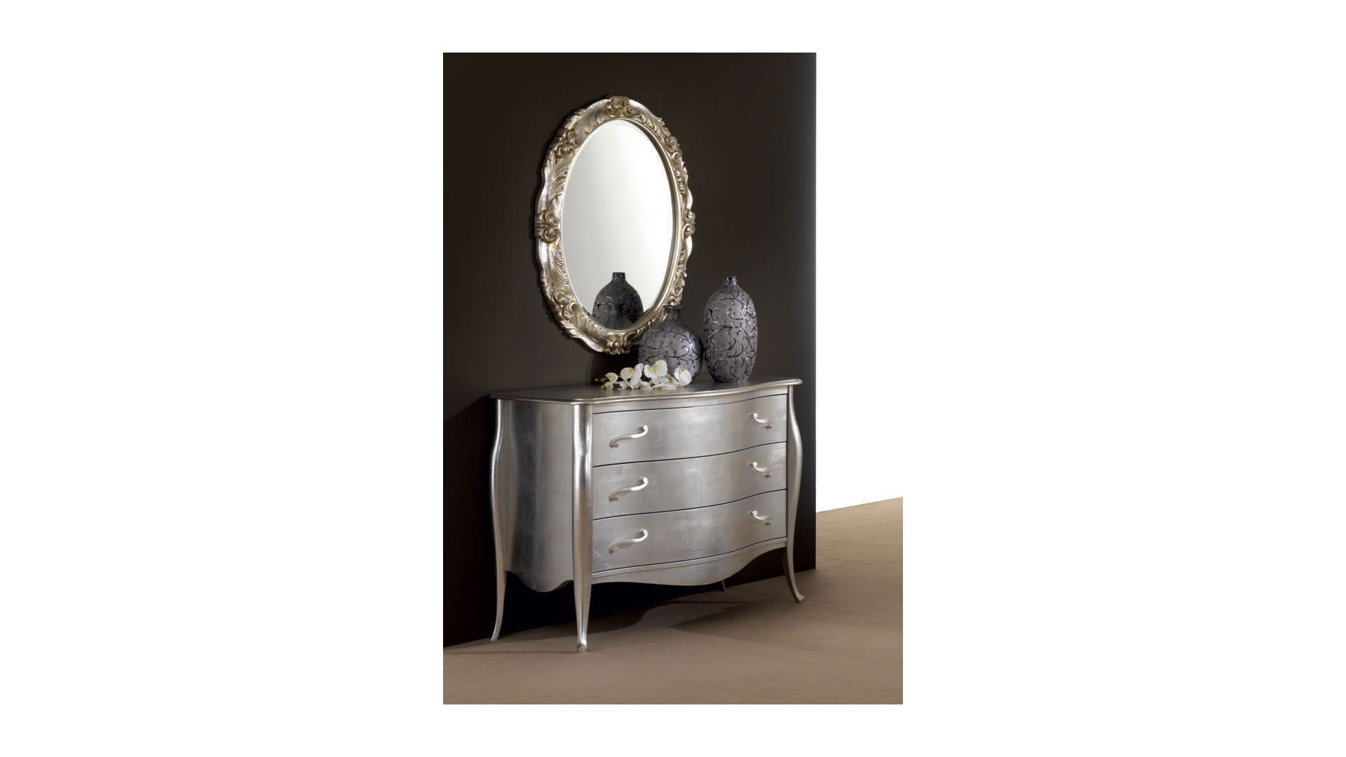 Console - commode Chanel PERSONNALISABLE finition feuilles d'argent - PIERMARIA