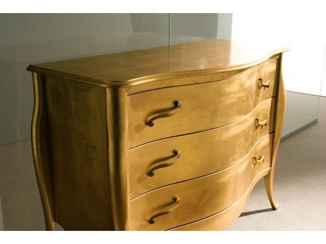 Console - commode Chanel PERSONNALISABLE finition feuilles d'or - PIERMARIA