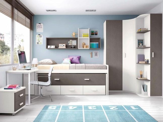 Chambre pour ado composition L001 avec lit gigogne - GLICERIO