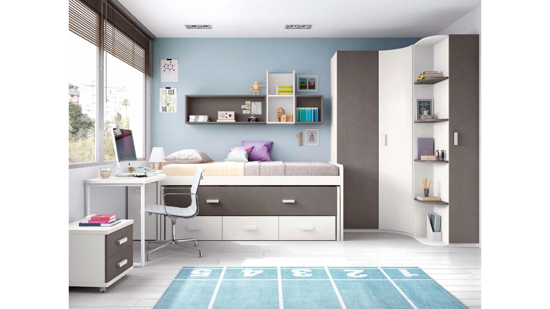 chambre pour ado avec lit surélevè et gigogne - glicerio - so nuit