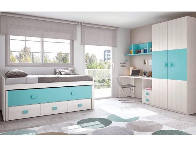 Chambre enfant complete composition L002 avec lit gigogne - GLICERIO