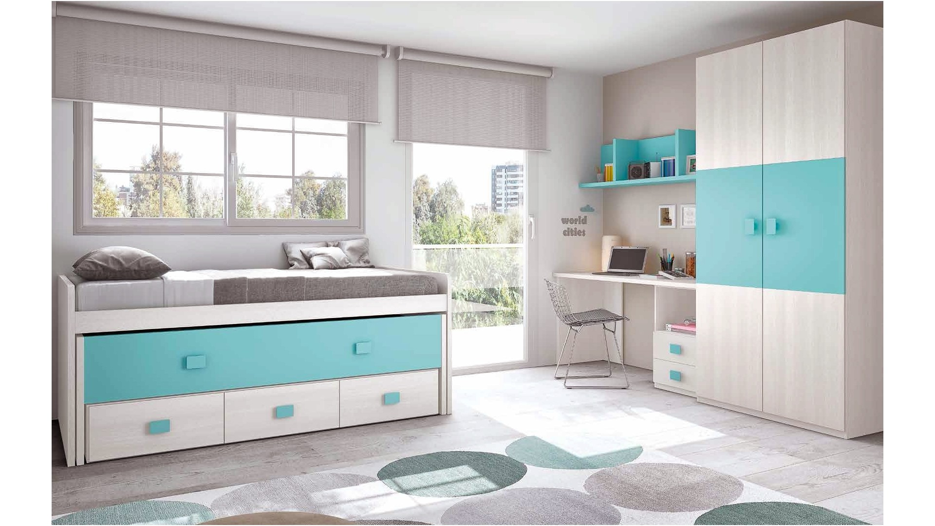 chambre enfant complete moderne color glicerio so nuit. Black Bedroom Furniture Sets. Home Design Ideas