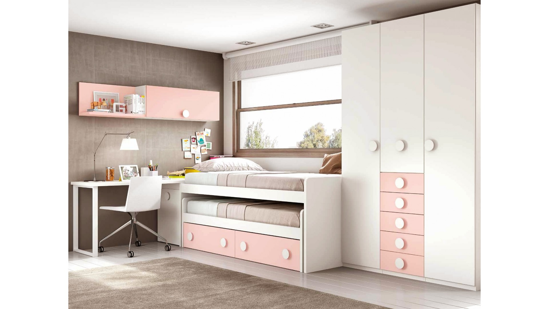 chambre fille ado avec un lit pratique fun glicerio. Black Bedroom Furniture Sets. Home Design Ideas