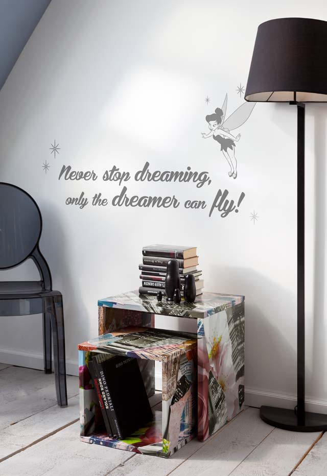 stickers muraux never stop dreaming panoramique disney. Black Bedroom Furniture Sets. Home Design Ideas