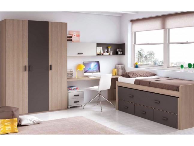 Chambre enfant garcon composition L004 avec lit gigogne - GLICERIO