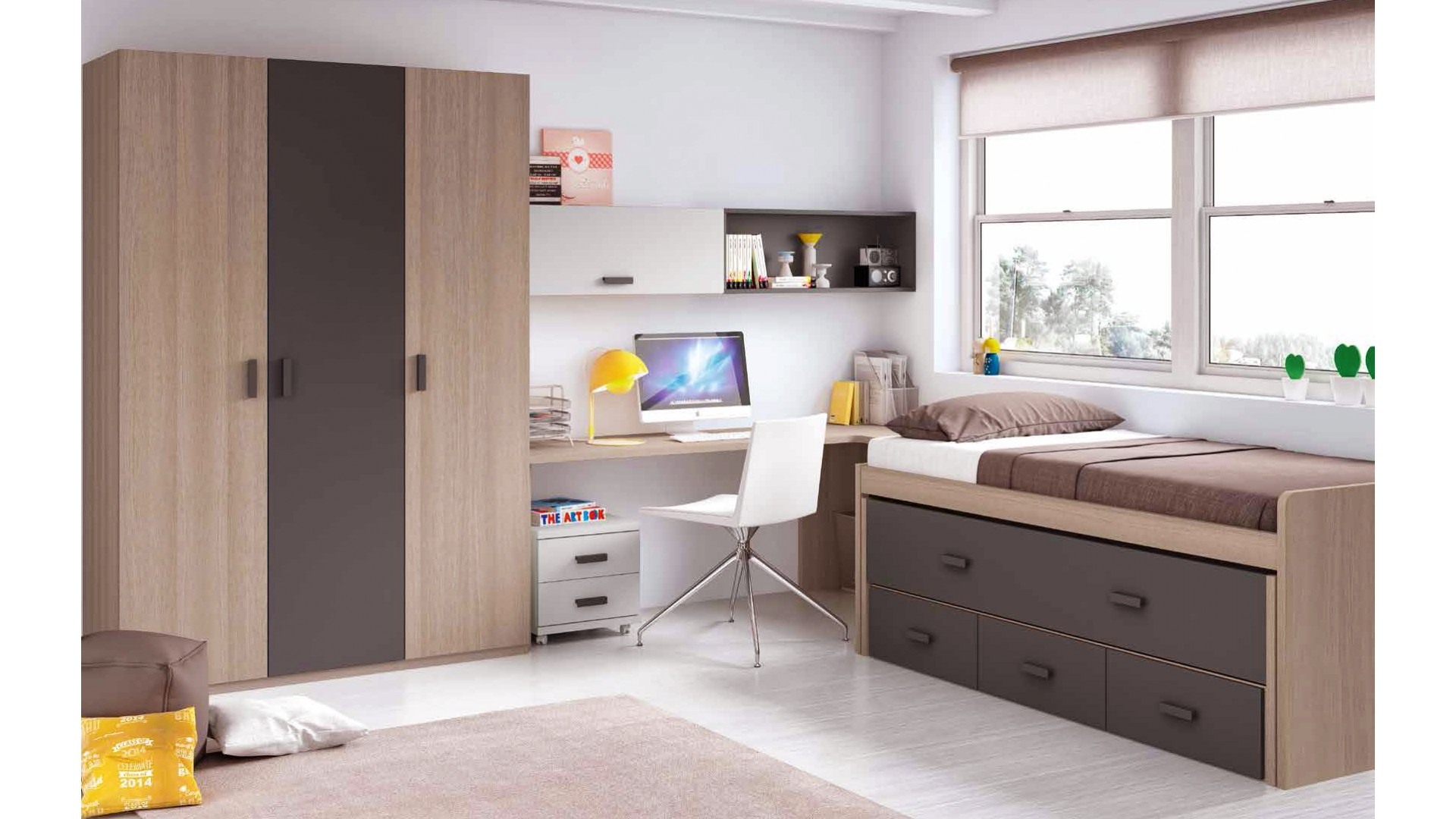 chambre enfant garcon avec lit sur lev bureau. Black Bedroom Furniture Sets. Home Design Ideas
