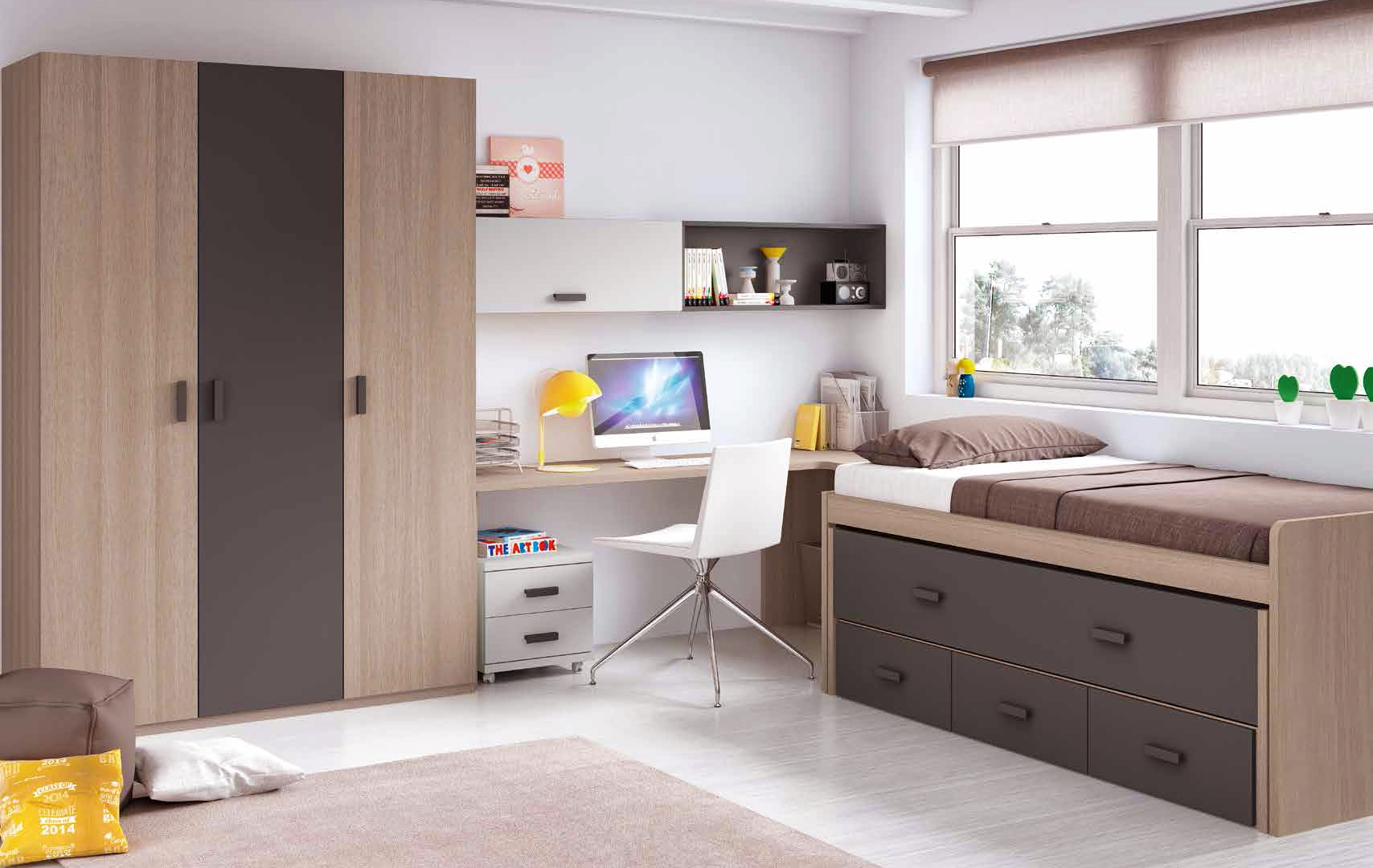 chambre enfant garcon avec lit sur lev bureau glicerio so nuit. Black Bedroom Furniture Sets. Home Design Ideas