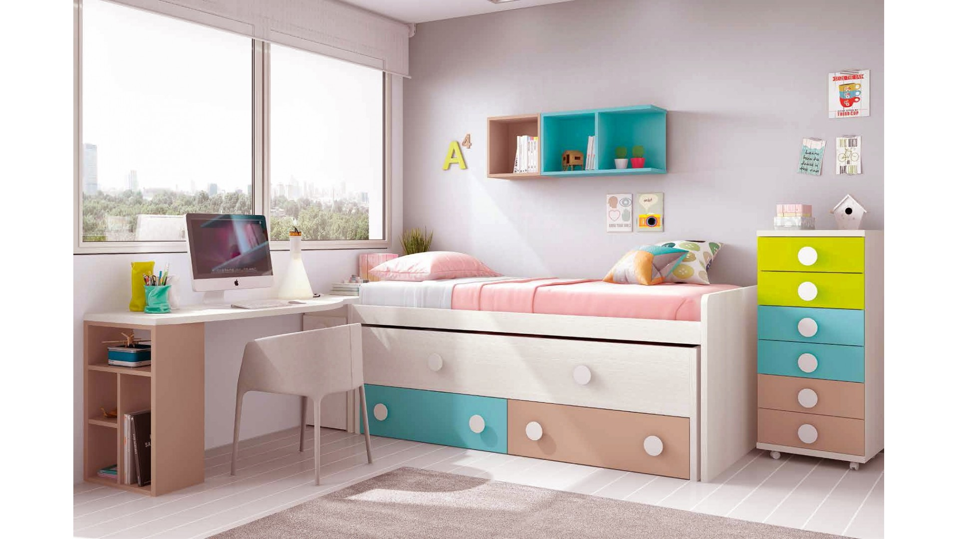 chambre ado design avec lit sur lev color et fun. Black Bedroom Furniture Sets. Home Design Ideas