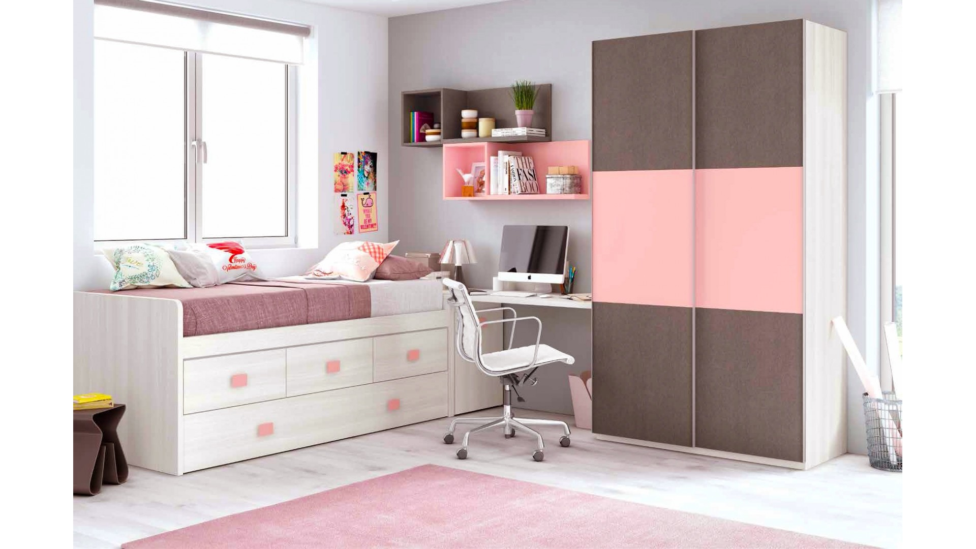 chambre fille rose avec une armoire coulissante glicerio so nuit. Black Bedroom Furniture Sets. Home Design Ideas