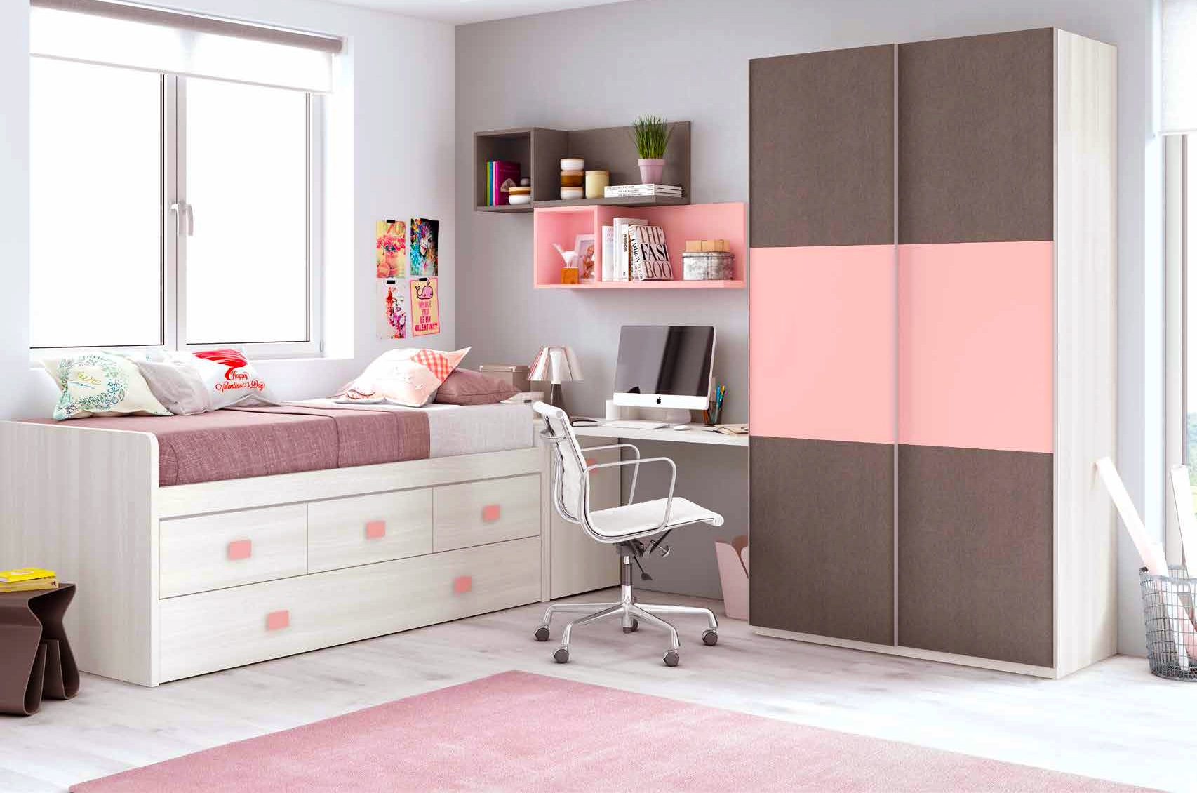 chambre fille rose avec une armoire coulissante glicerio. Black Bedroom Furniture Sets. Home Design Ideas