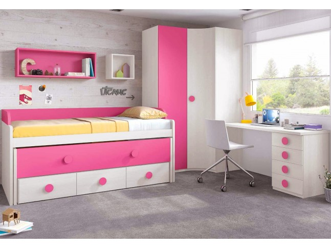 chambre de fille fun avec lit sur l v gigogne. Black Bedroom Furniture Sets. Home Design Ideas