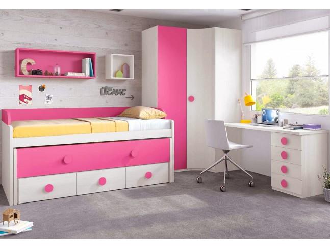 Chambre de fille composition L009 avec lit gigogne - GLICERIO
