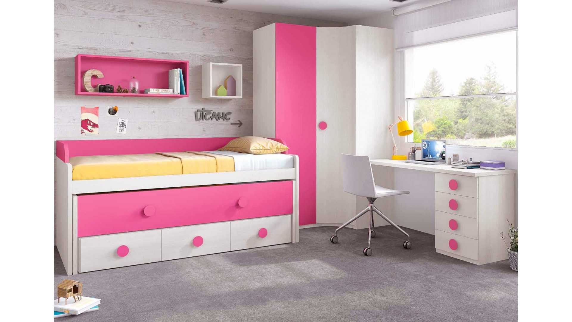 chambre de fille fun avec lit sur l v gigogne glicerio so nuit. Black Bedroom Furniture Sets. Home Design Ideas