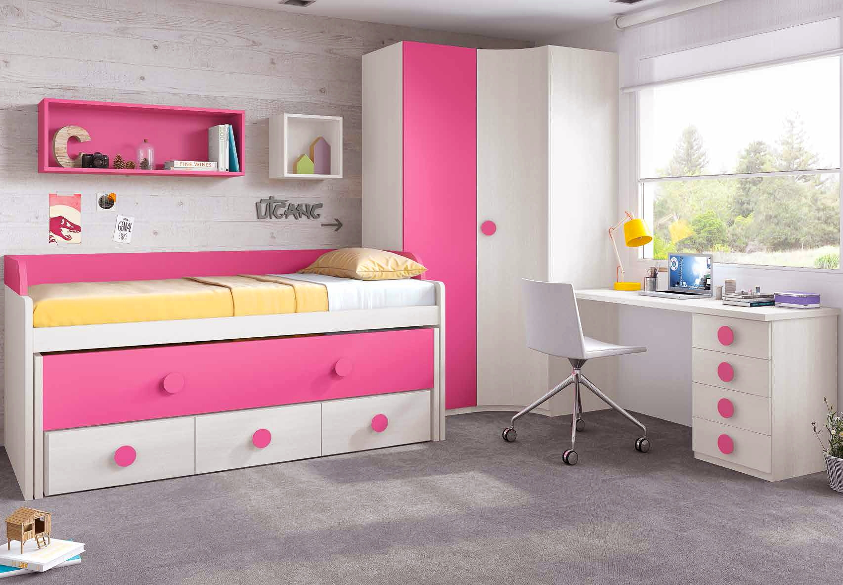 Chambre de fille fun avec lit surélévé & gigogne GLICERIO SO NUIT