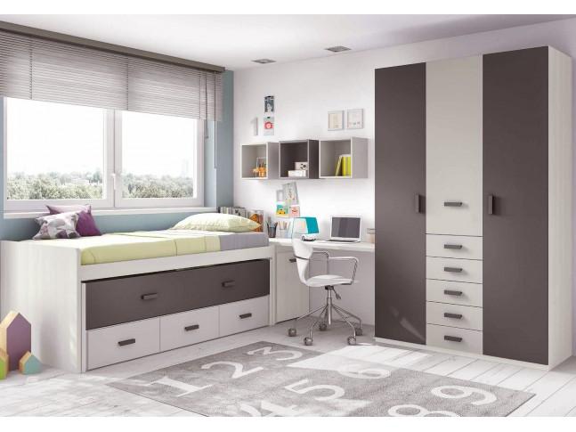 Chambre ado garcon composition L010 avec lit gigogne - GLICERIO